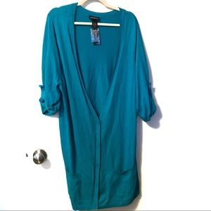 NWT Lane Bryant blue Duster Button front Cardigan